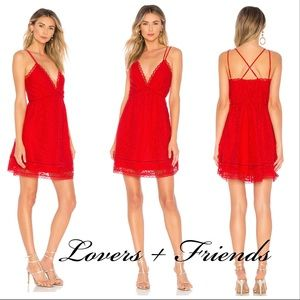 NWT! Lovers + Friends Levesque Red Lace Mini Dress